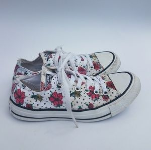 Floral print converse all stars size 7